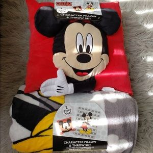 NWT! Mickey Mouse pillow and Throw set